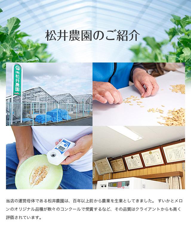 【松井農園のご紹介】当店の運営母体である松井農園は、百年以上前から農業を生業としてきました。すいかとメロンリジナル品種が数々のコンクールで受賞するなど、その品質はクライアントからも高く評価されています。